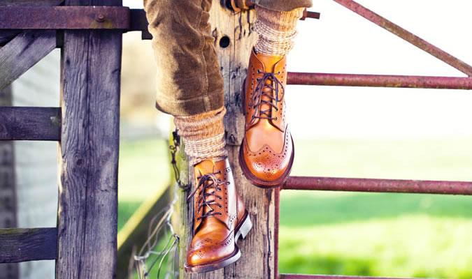 Вязаные носки под мужские ботинки