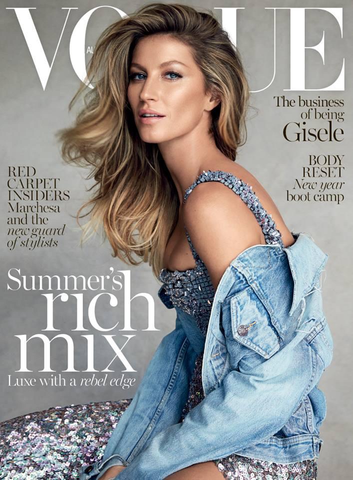 Фото - Жизель Бюндхен на обложке Vogue (Австралия) январь 2015 / Макияж: Хун Ваннго