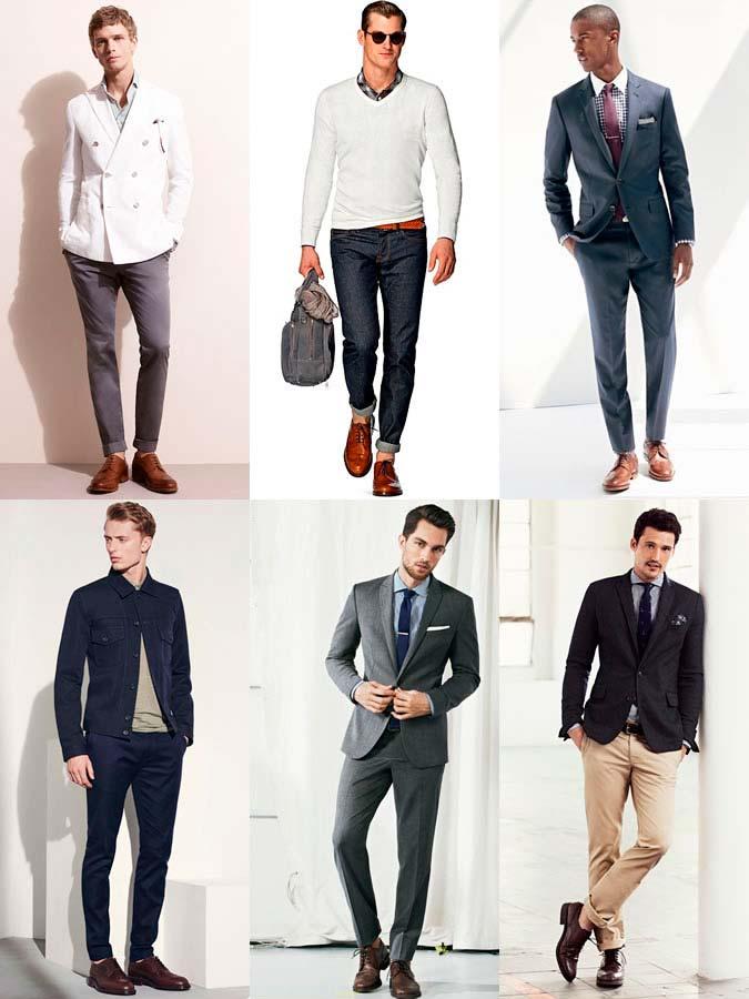 Фото - мужская обувь: Коричневые кожаные Броги