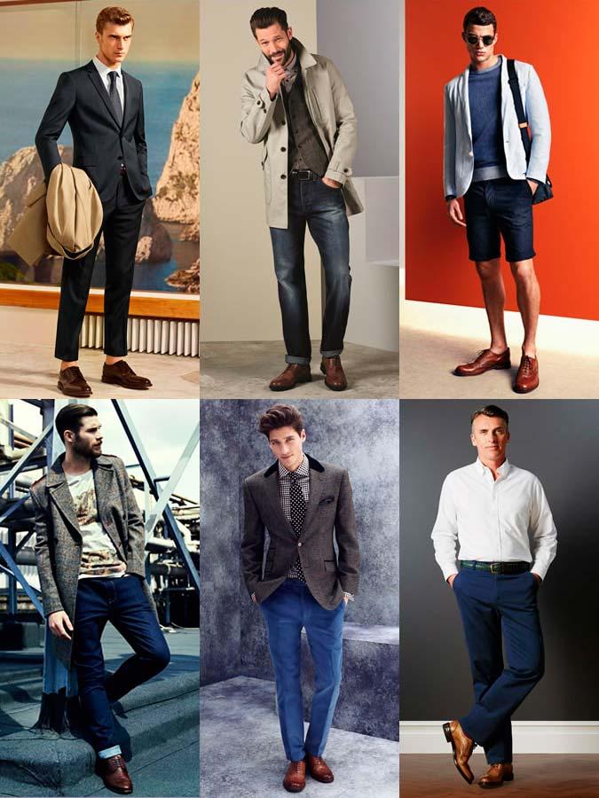 Фото - мужская обувь: Коричневые кожаные Броги #1
