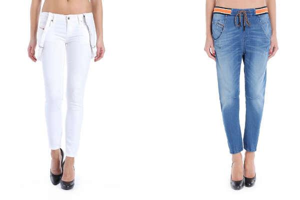 Фото - женские джинсы с подтяжками и резинками