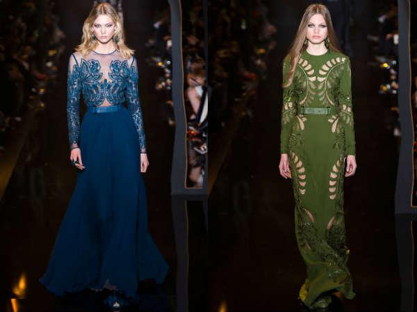 Фото - темно-синее и зеленое платье от Elie Saab