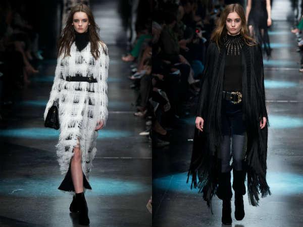 Фото - пальто с бахромой и перьями