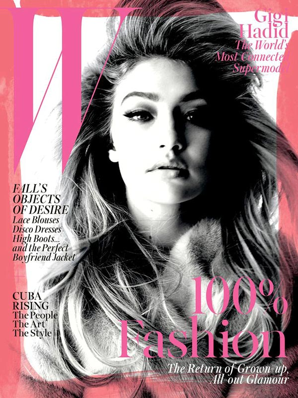 Фото - Джиджи на обложке августовского выпуска W Magazine.