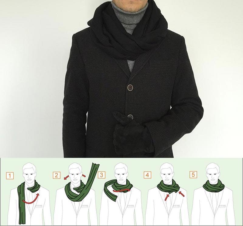 Фото - как завязать шарф двойным обертыванием