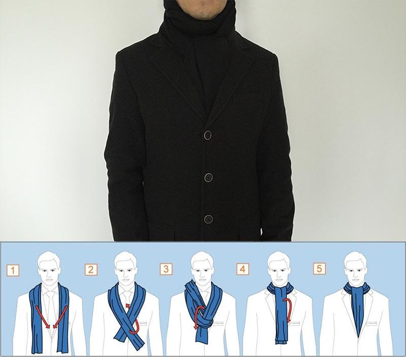 Фото - схема завязывания шарфа в узел Аскот