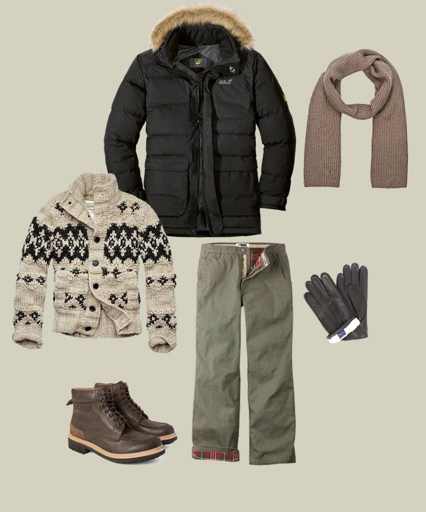Фото - схема: как комбинировать разную одежду с мужским шарфом зимой