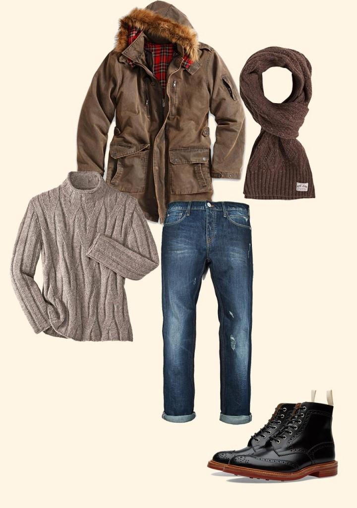 Фото - комбинация разной мужской одежды вместе с теплым шарфом