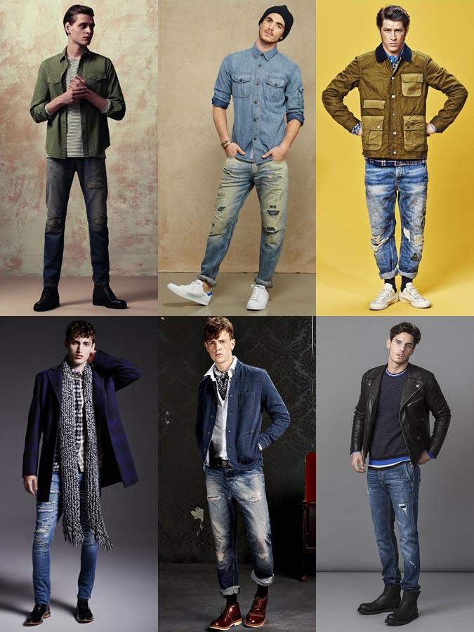 Фото - мужские потертые джинсы