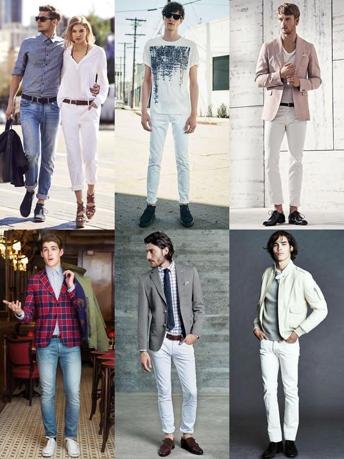 Фото - мужские светлые джинсы в моде 2015