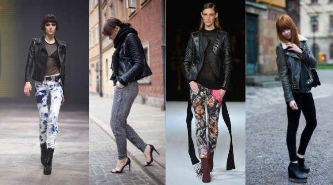 Фото - Как носить кожаную куртку с леггинсами или брюками