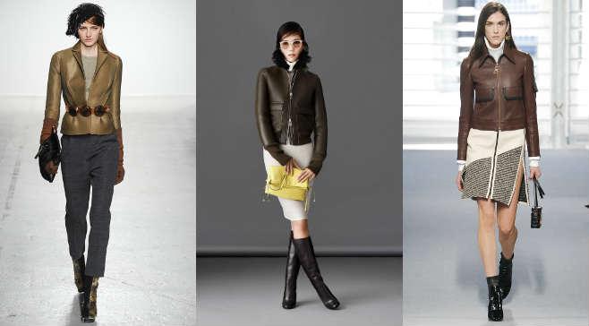 Фото - как носить кожаную куртку бежевого и синего цвета