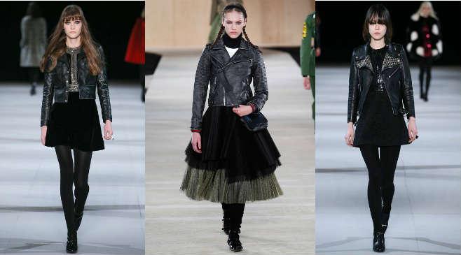 Фото 1 - Как правильно комбинировать кожаную куртку с юбками