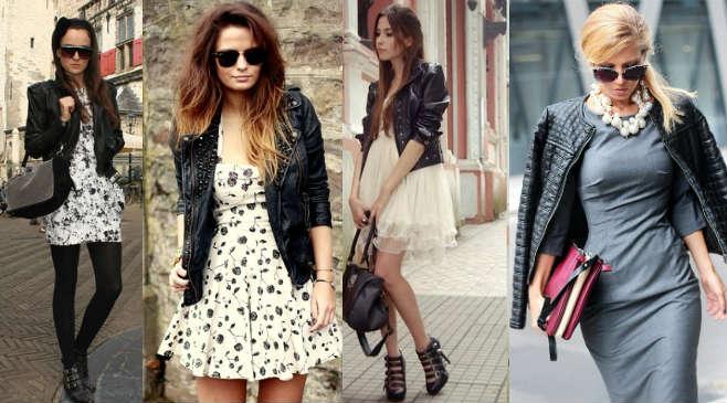 Фото 2 - Как носить кожаную куртку с платьями и туниками