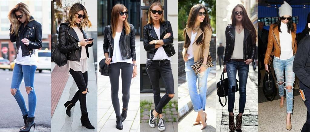 Фото - как носить кожаную куртку с джинсами разных цветов