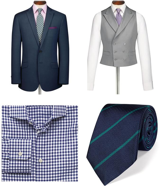 Фото - Зимний мужской образ №9: деловой темно-синий костюм на двух пуговицах + формальная шерстяная жилетка серого цвета + классическая рубашка в клетку в стиле кэжуал + текстурированный полосатый галстук + туфли Оксфорды