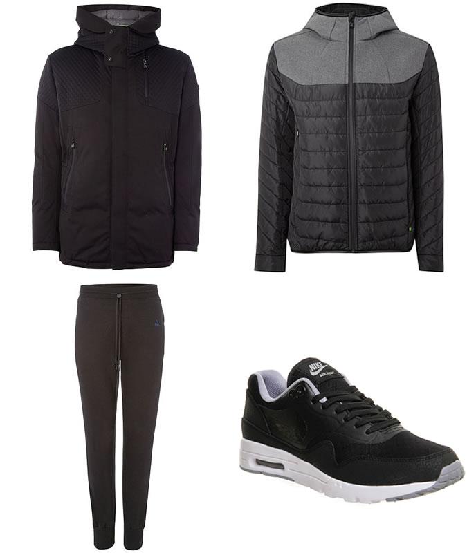 Фото - Зимний мужской образ №8: парка + пуховой пиджак + утепленные спортивные штаны + перфорированные кроссовки