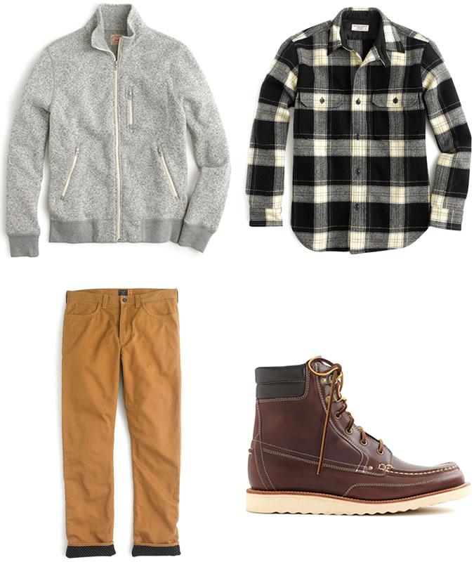 Фото - Зимний мужской образ №5: кофта из флиса + фланелевая рубашка + горчичные вельветовые штаны + ботинки на меху