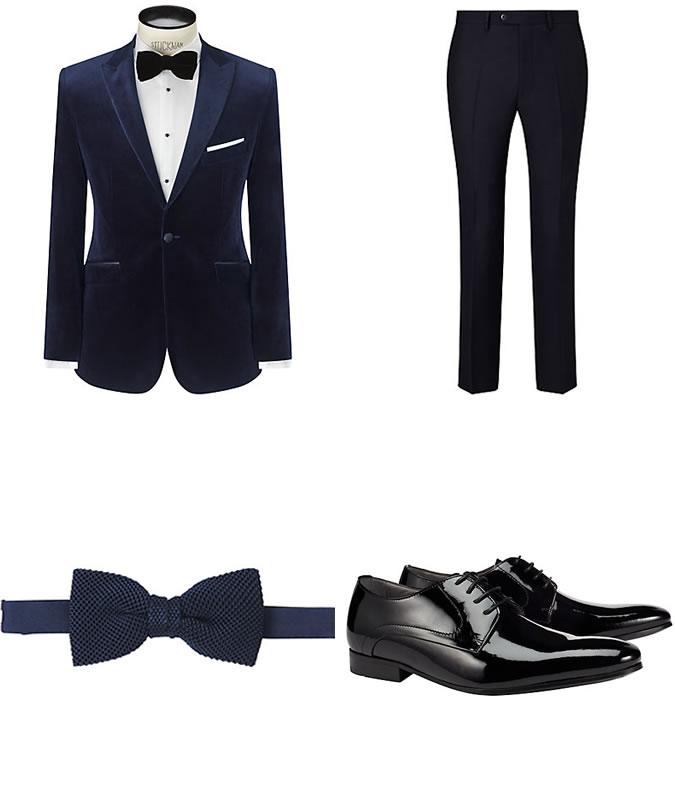 Фото - Зимний мужской образ №10: темно-синий вельветовый пиджак + брюки slim fit + шелковая бабочка + платок для нагрудного кармана + черные лакированные Дерби