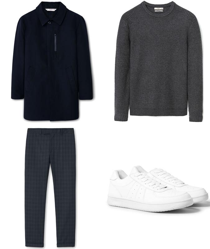 Фото - Зимний мужской образ №1: клетчатые брюки + пальто + вязаный свитер + белые кроссовки