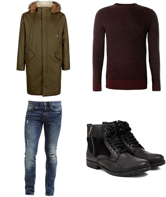 Фото - Зимний мужской образ №4: куртка цвета хаки + шерстяной свитер цвета бургунди + потертые или рваные зауженные джинсы + армейские ботинки