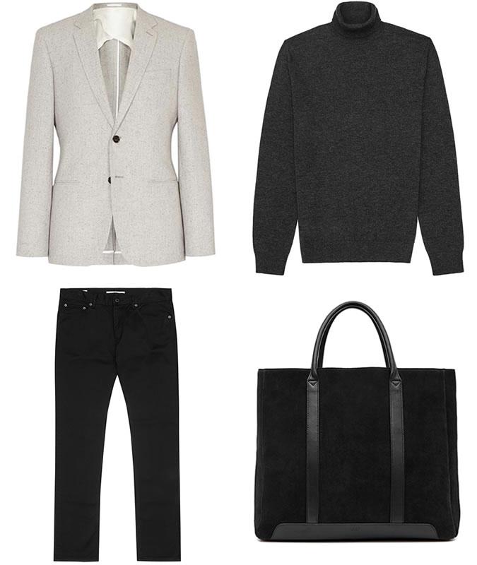 Фото - Зимний мужской образ №3: пиджак на двух пуговицах + водолазка из шерсти мериноса + джинсы slim fit + черная кожаная сумка