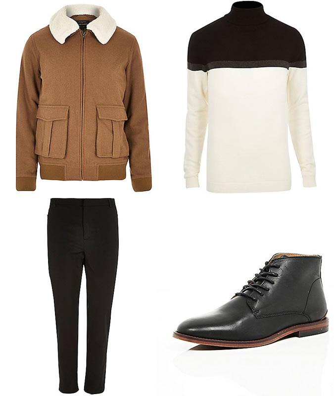 Фото - Зимний мужской образ №2: куртка Харрингтон + водолазка + зауженные брюки + кожаные ботинки