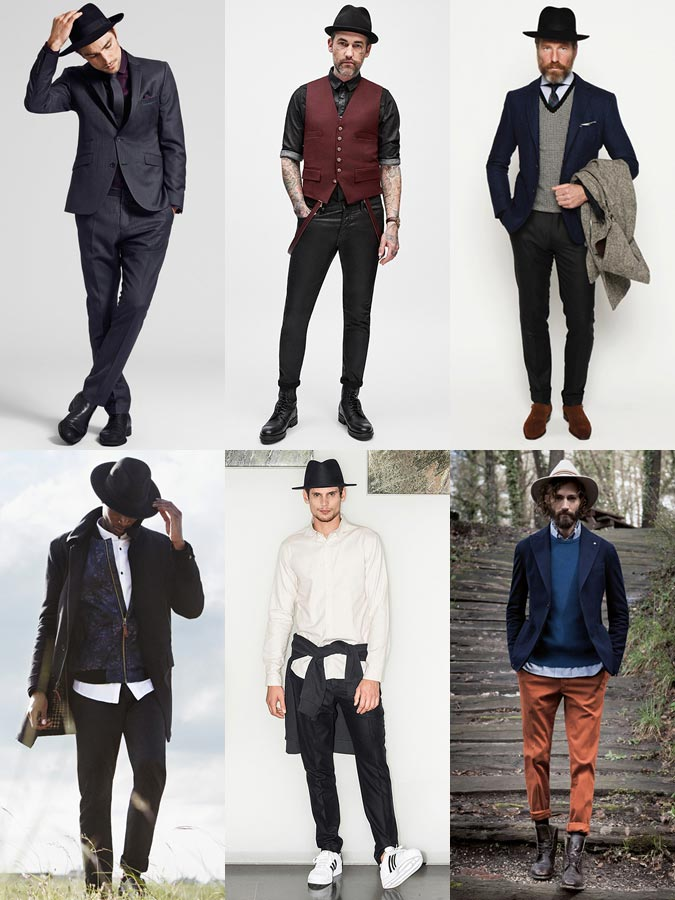 С чем носить мужскую шляпу с полями: модные луки