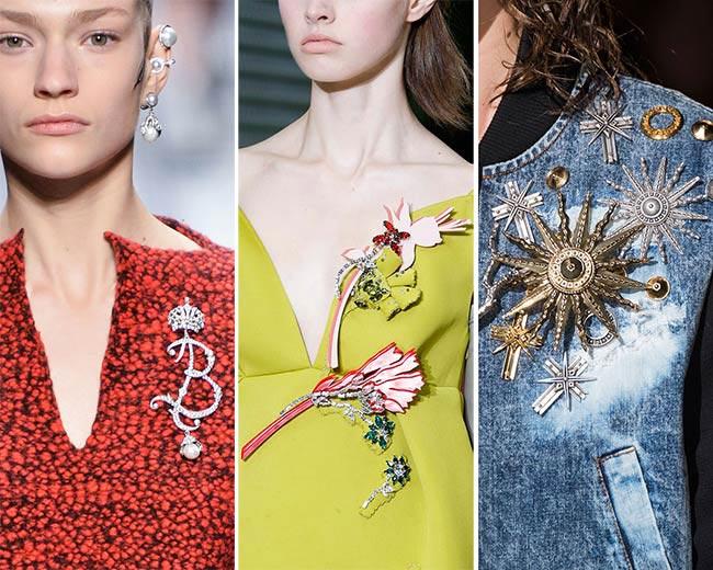Фото - украшение в моде зимой 2016: броши с драгоценными камнями
