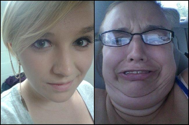 фото - одна и та же девушка, но совершенно два разных лица