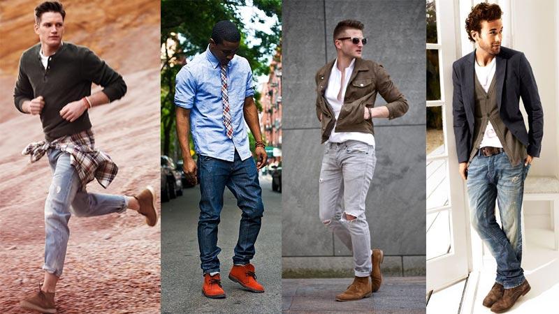 фото - как носить ботинки с потертыми джинсами