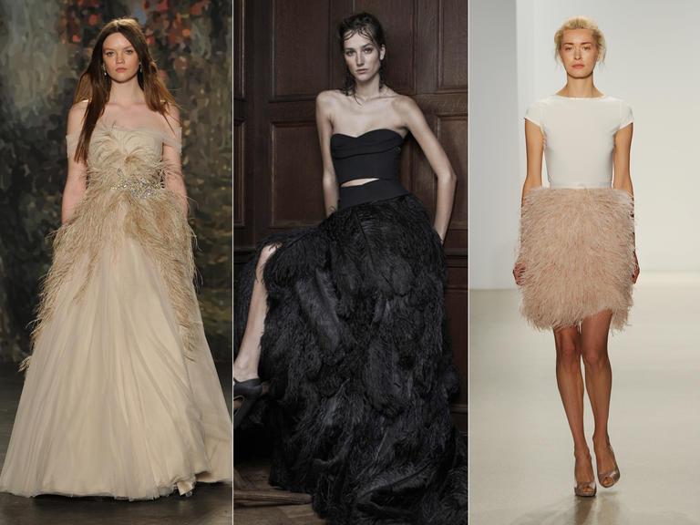 фото - свадебные платья с отделкой перьями