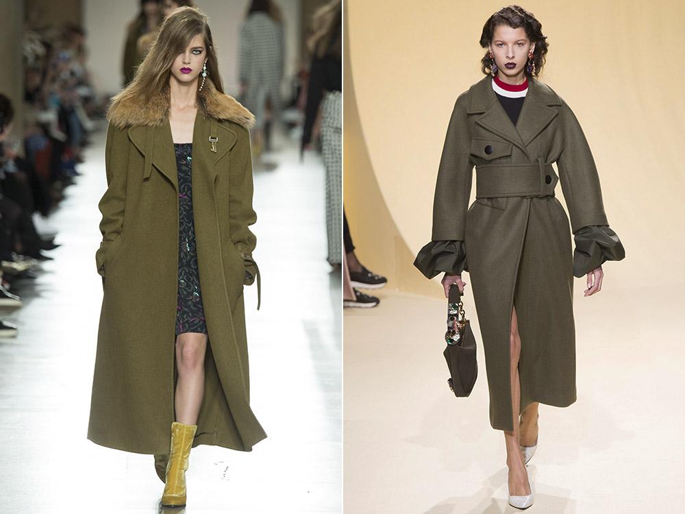 фото - женские пальто в стиле милитари на осень 2016