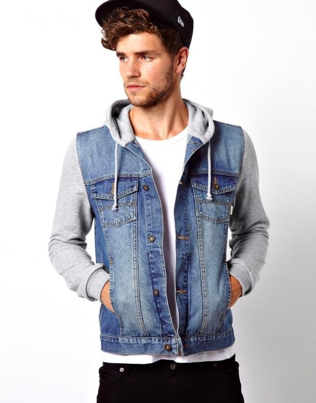 фото - мужская джинсовка с капюшоном