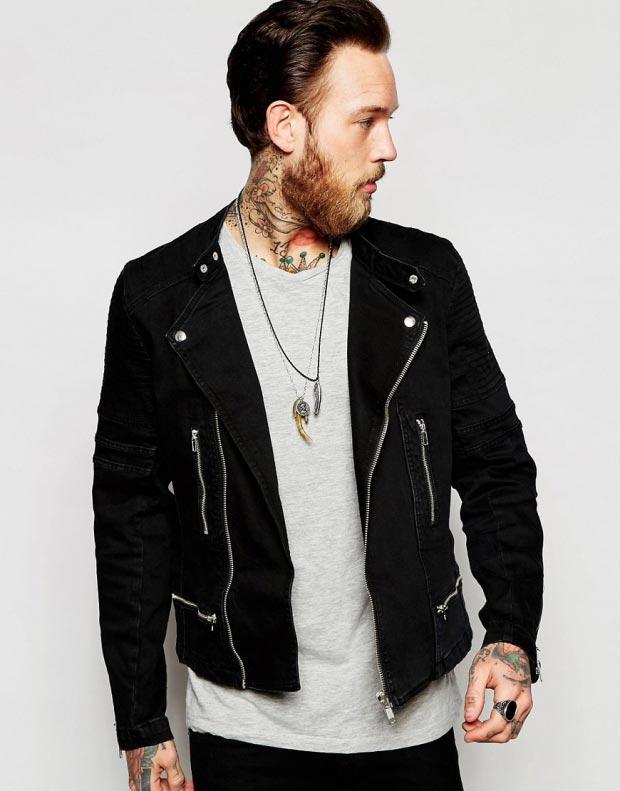 фото - джинсовая куртка с кожаными вставками