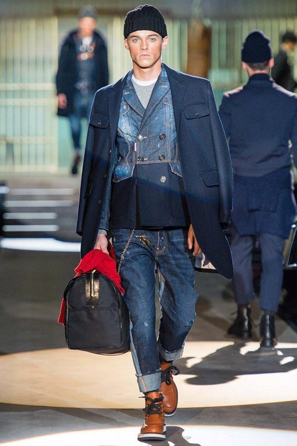 фото - как носить джинсовую куртку с бушлатом или пальто