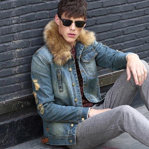 фото - мужская джинсовая курточка на зиму