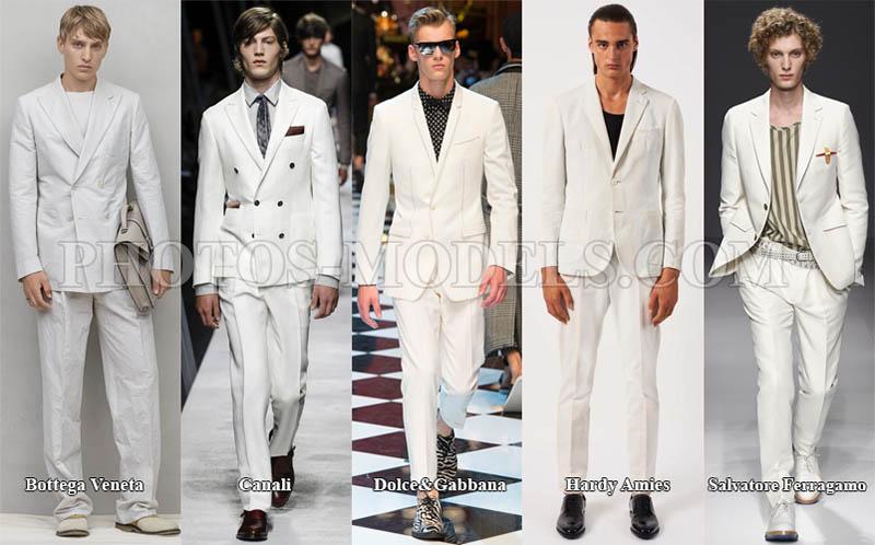 Белый мужской костюм в моде 2017