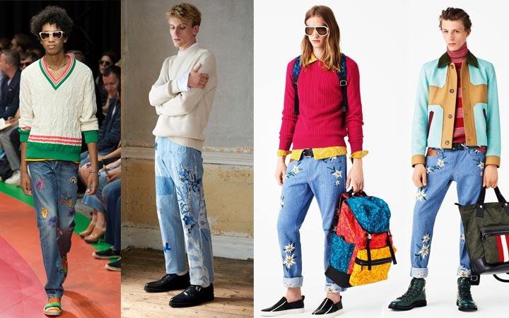 Джинсовые штаны с декором