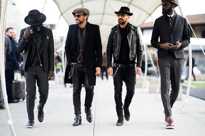 Черный цвет - основа любого мужского лука в 2017