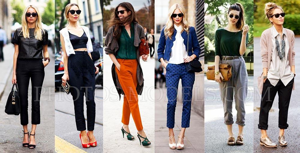 Модные луки в укороченных брюках уличная мода весна-лето 2017