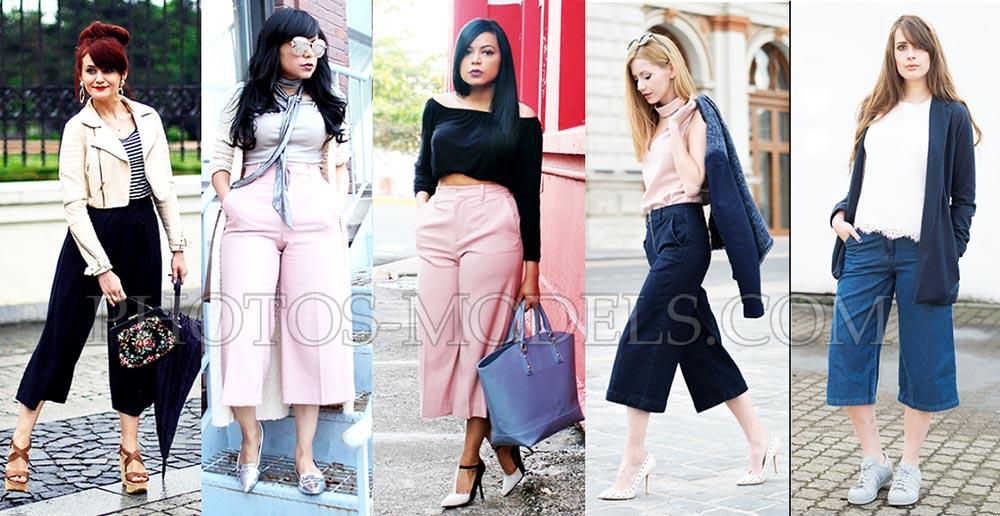 Модные брюки-колюты для полных женщин весна 2017-2018 фото образы