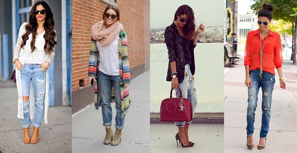 джинсы бойфренды под кардиган или кофту
