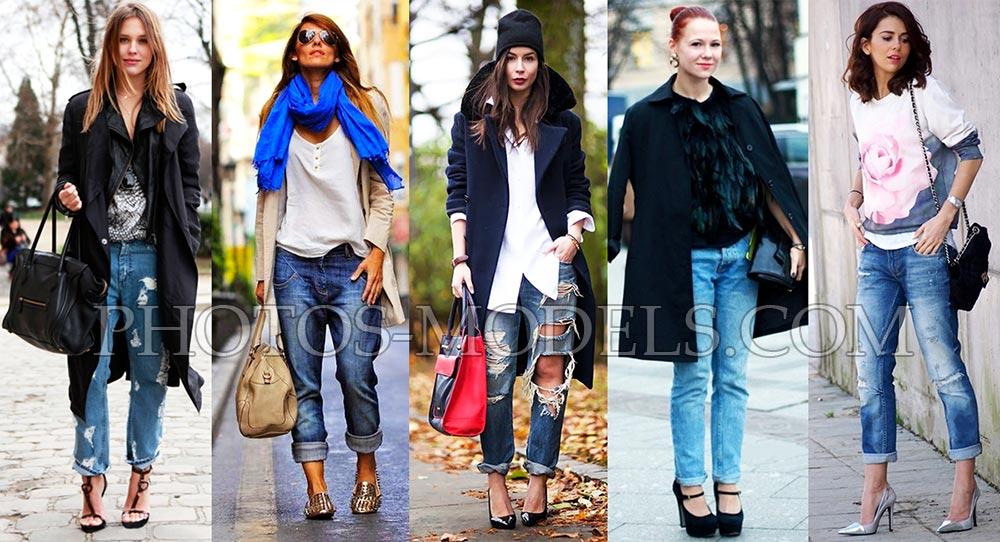 Как носить джинсы мужского кроя с плащом или пальто