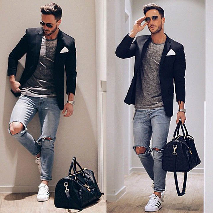 Мужской пиджак, рваные джинсы и кроссовки