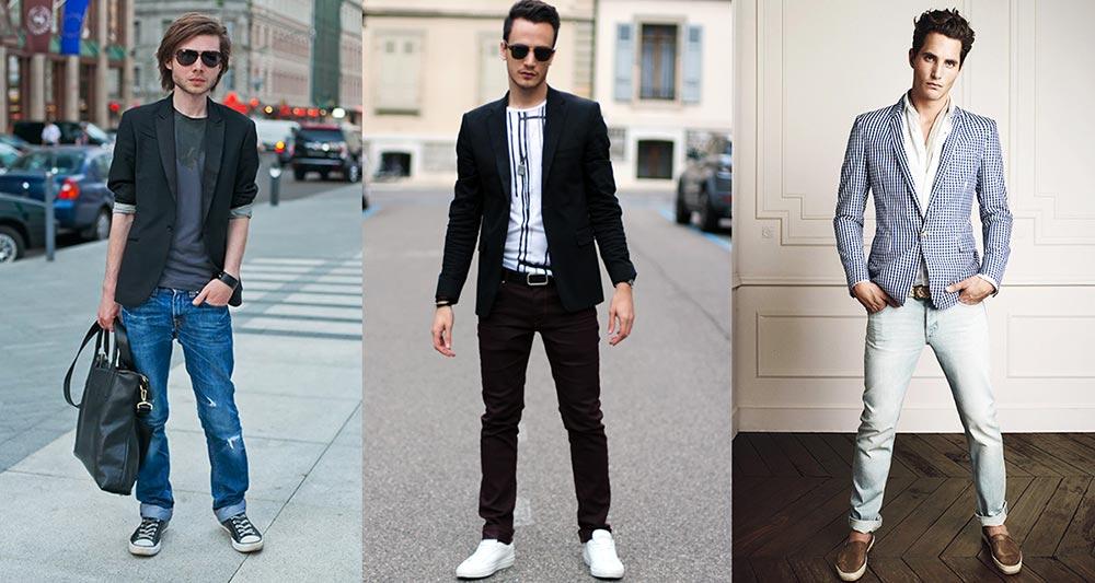 Черный пиджак под темно-синие джинсы