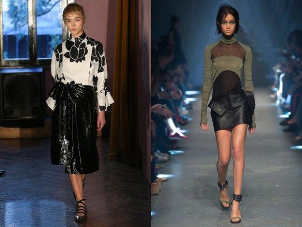 Модные кожаные юбки лето весна 2017