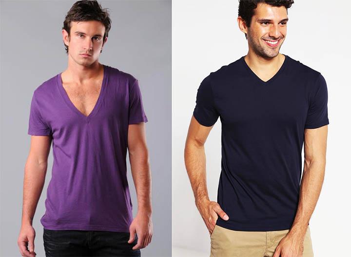 Мужские футболки с глубоким вырезом - выглядят отвратительно