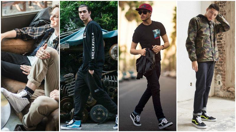 С чем носить мужские кеды Vans Sk8-Hi: фото примеры