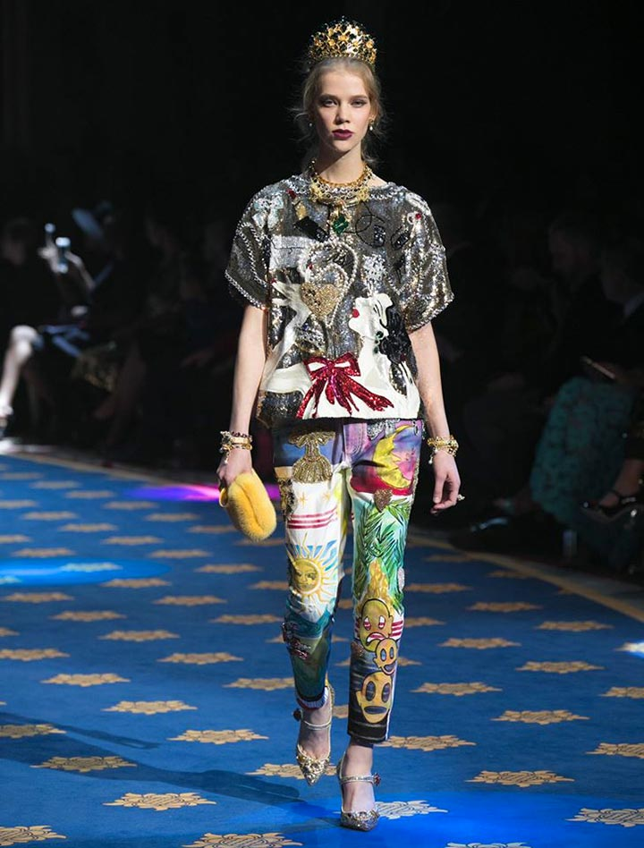 Эллес на Dolce & Gabbana Alta Moda Spring 2017